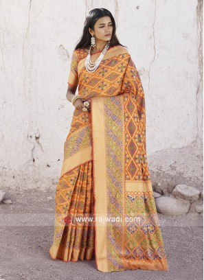 Attractive Mango Silk Saree