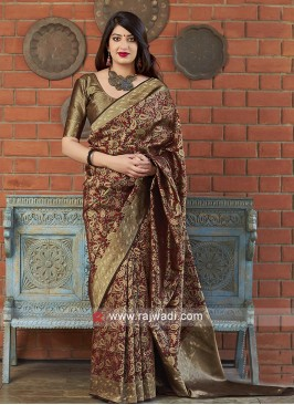Attractive Maroon Banarasi Silk Saree