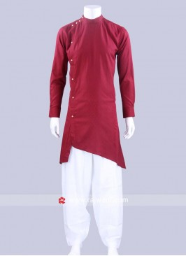 Attractive Maroon Color Pathani Set