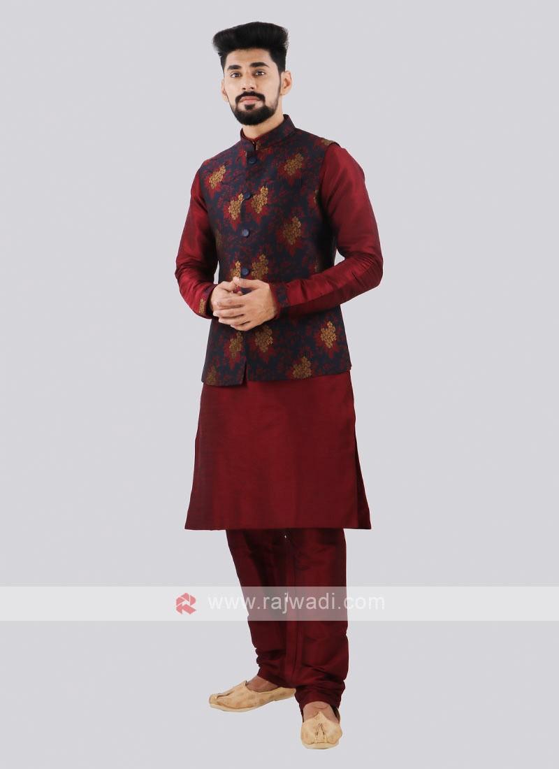Attractive Maroon & Navy Nehru Jacket Suit