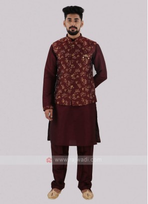 Attractive Maroon Nehru Jacket Suit