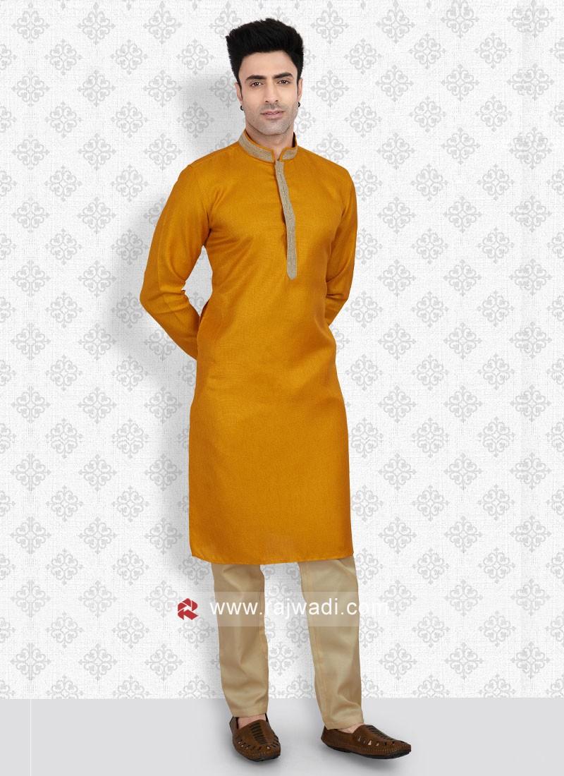 Attractive Mustard Yellow And Golden Color Kurta Pajama