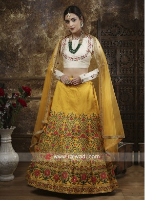 Attractive Mustard Yellow Satin Silk Lehenga