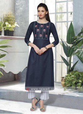 Attractive Navy Blue & White Kurta Set