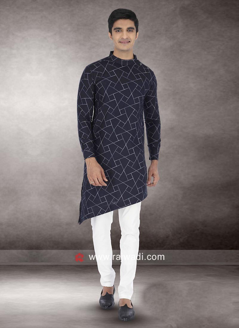 Attractive Navy Color Pathani Suit