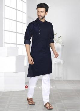Attractive Navy Fabric Pathani Set