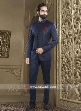 Attractive Navy Jodhpuri Suit For Party