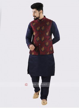 Attractive Navy & Maroon Koti Set