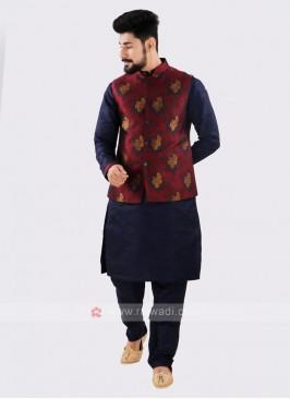 Attractive Navy & Maroon Nehru Jacket Suit