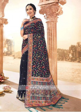 Attractive Navy Weaving Saree