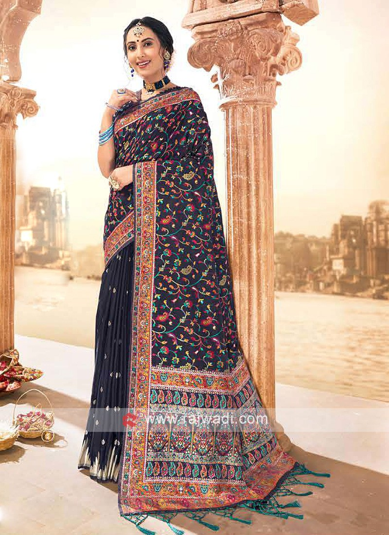 Attractive Navy Weaving Saree