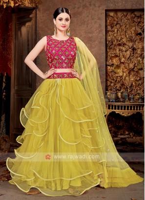 Attractive Yellow & Pink Net Lehenga Choli