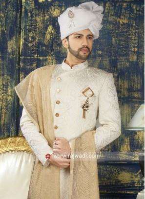 Attractive Off White Color Sherwani