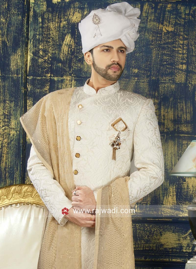 Attractive Off White Color Sherwani