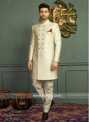 Attractive Off White Indo Western For Wedding