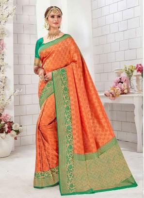 Attractive Orange And Green Color Banarasi Silk Saree
