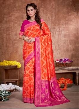 Attractive Orange And Rani Color Banarasi Silk Saree