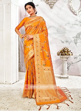Attractive Orange Banarasi Silk Saree