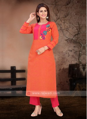 Attractive Orange & Deep Pink Color Kurta Set