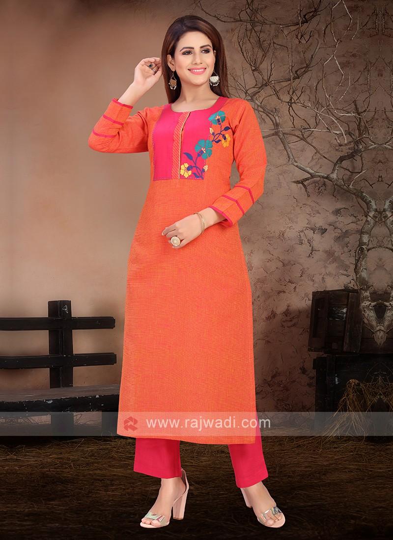 Attractive Orange & Deep Pink Color Kurta Set
