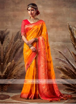 Attractive Orange & Red Bandhani Saree
