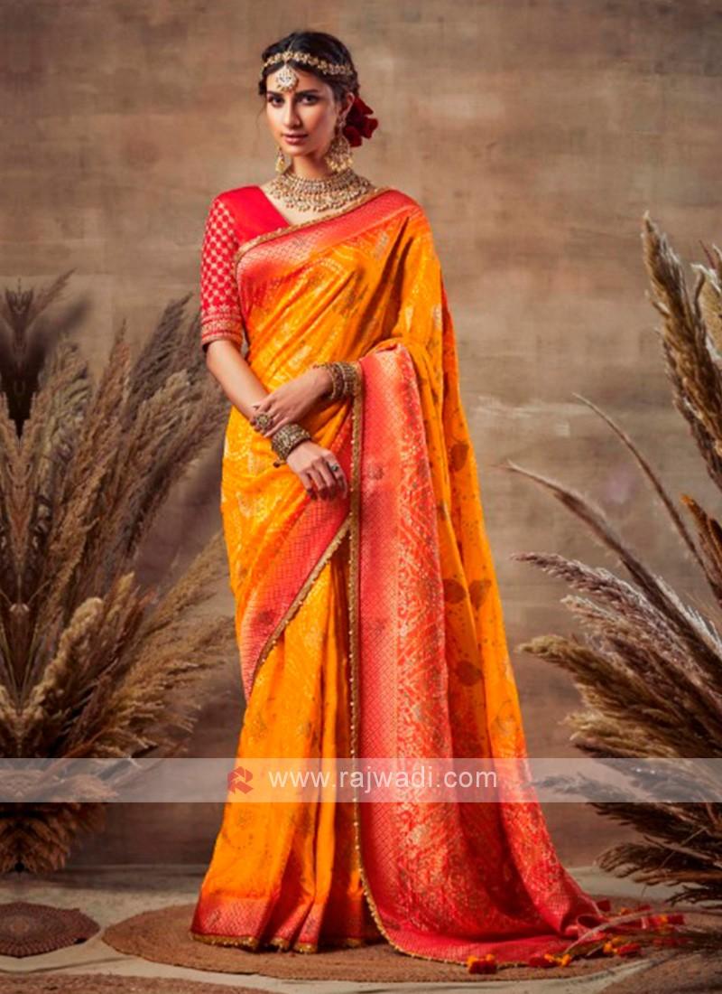 Attractive Orange & Red Bandhani Saree