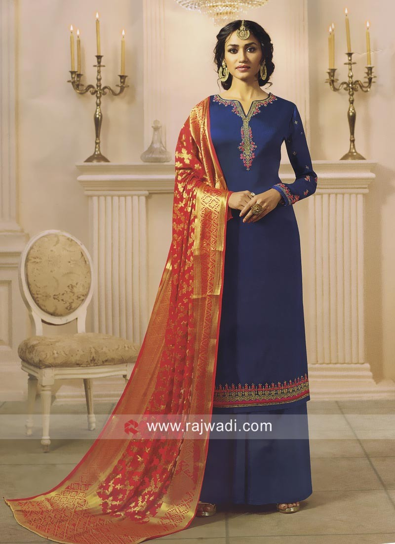 Attractive Palazzo Salwar Suit in Satin Fabric