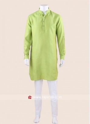 Attractive Parrot Green Color Kurta Set