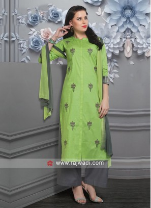 Attractive Parrot Green Palazzo Suit