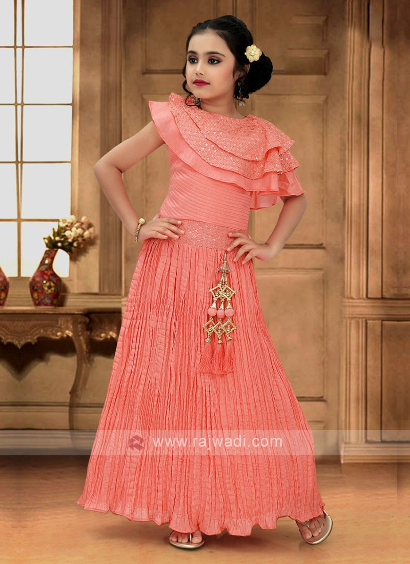 Attractive Peach Color Choli Suit For Girls