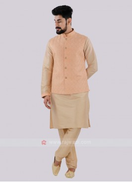 Attractive Peach & Cream Nehru Jacket Suit