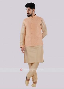 Attractive Peach & Cream Nehru Jacket Suit