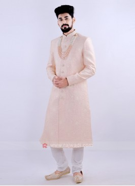 Attractive Peach & Off White Sherwani
