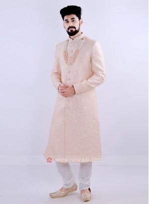 Attractive Peach & Off White Sherwani