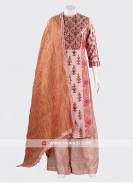 Attractive Peach Silk Palazzo Suit