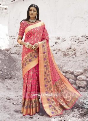 Attractive Peach Silk Saree