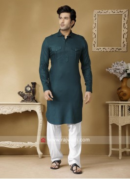 Attractive Peacock Blue Color Pathani Suit
