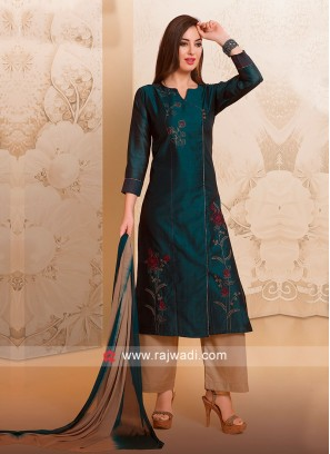 Attractive Peacock Blue Palazzo Suit