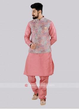 Attractive Pink Color Nehru Jacket Set