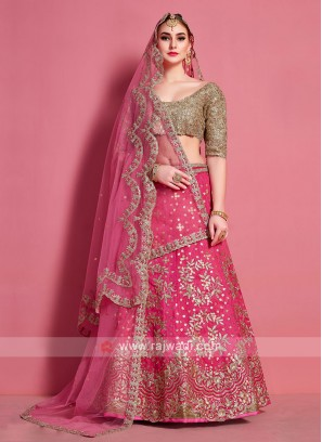 Attractive Pink & Golden Color Lehenga Choli
