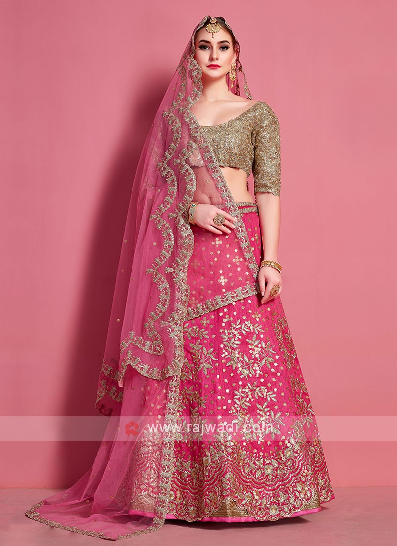 Attractive Pink & Golden Color Lehenga Choli