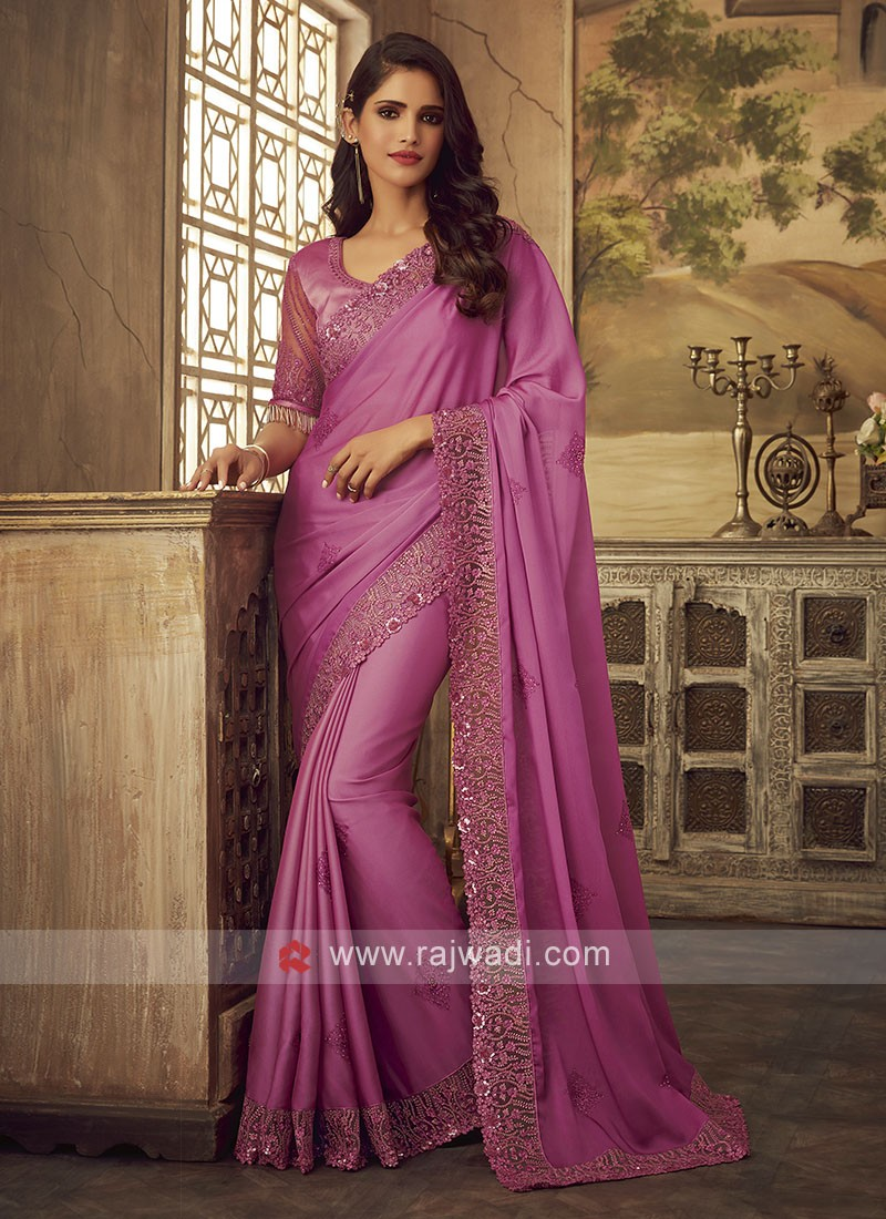 Attractive Pink Party Wear Saree