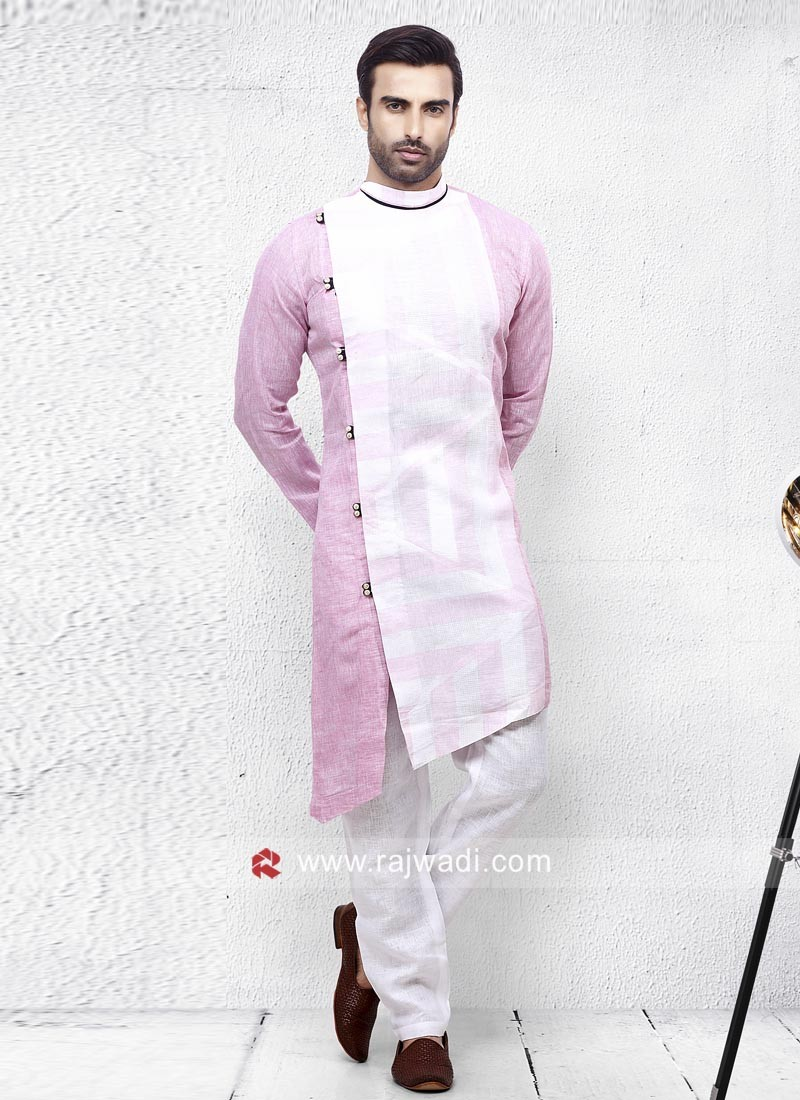 Attractive Pink Pathani Suit