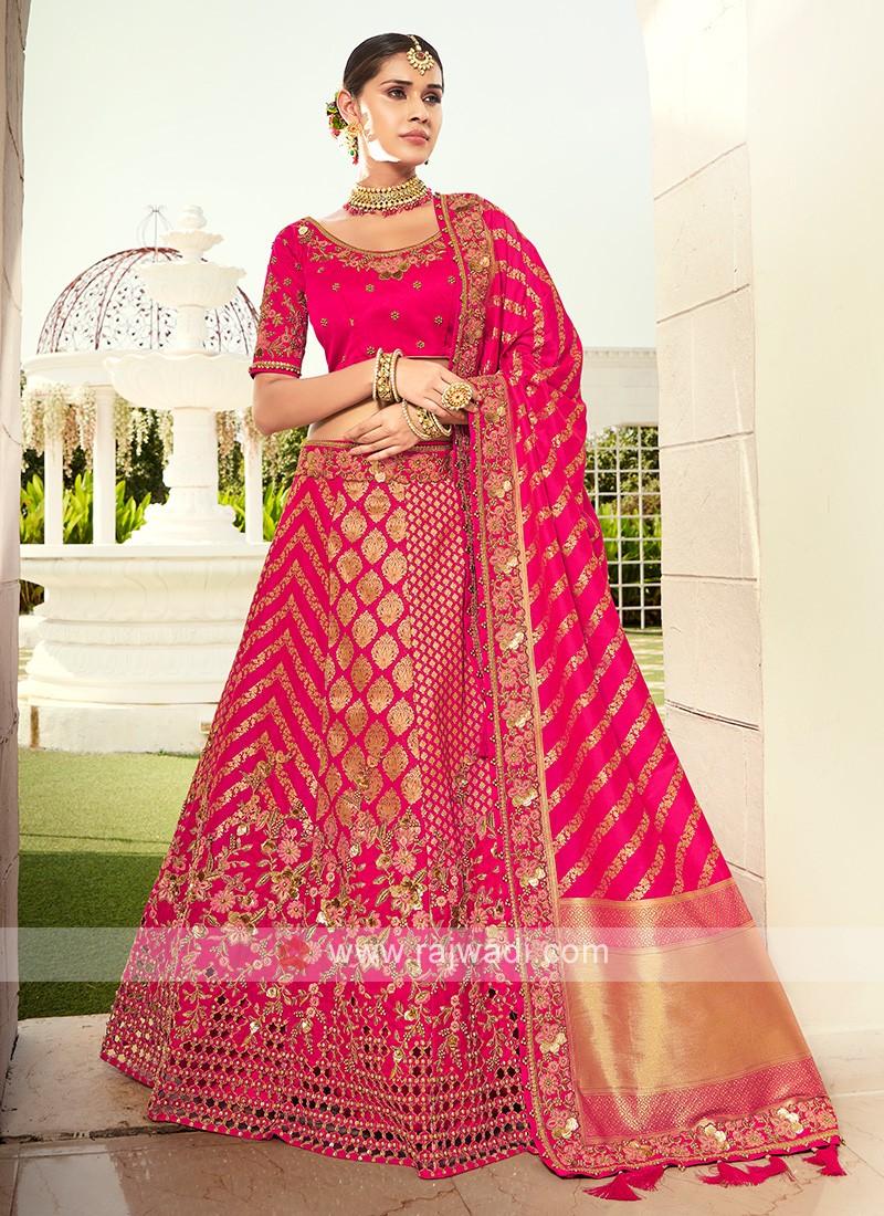 Attractive Pink Silk Lehenga Choli