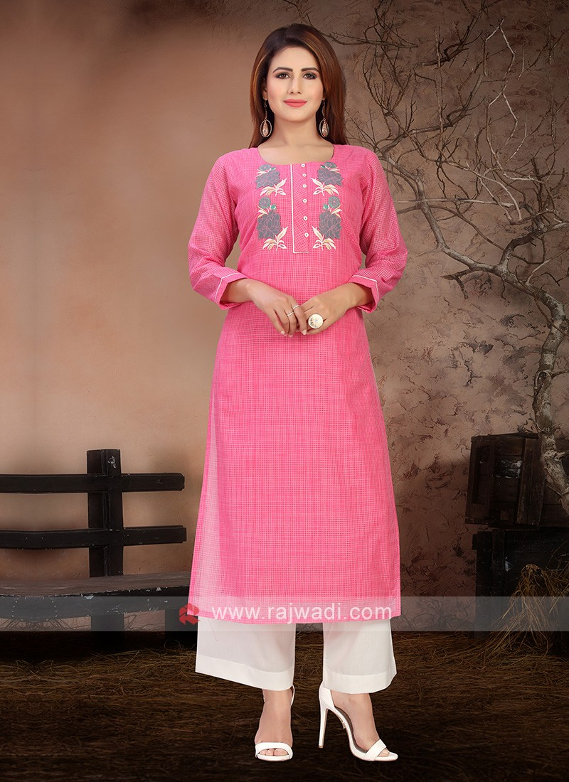 Attractive Pink & White Color Kurta Set