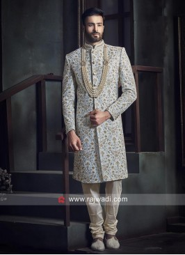 Attractive Powder Blue Indo Western Sherwani