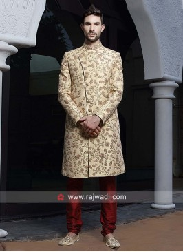 Attractive Golden Sherwani For Wedding