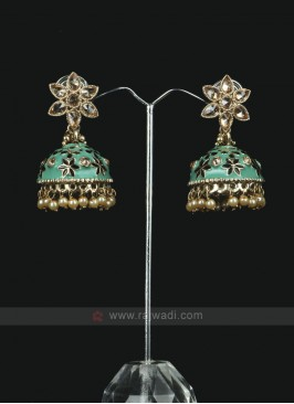 Attractive Rama Green Jhumka