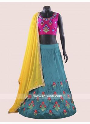 Attractive Rani and Peacock Blue Chaniya Choli For Navratri