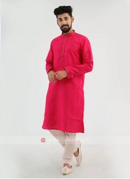 Attractive Rani And White Color Art Silk Kurta Pajama